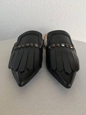 Hilfiger Collection, Slingback-Ballerinas, Leder, schwarz mit Nieten, 40, neu