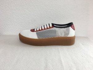 Hilfiger Collection, Sneakers, weiß-rot-blau, Leinen/Leder, 39, neu