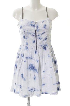 Hilfiger Denim A-Linien Kleid weiß-blau Allover-Druck Casual-Look