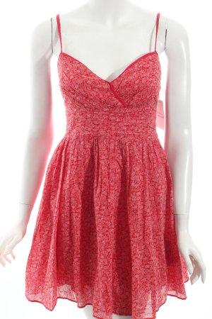 Hilfiger Denim A-Linien Kleid rot-weiß florales Muster Casual-Look