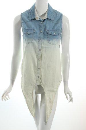 Hilfiger Denim ärmellose Bluse himmelblau-hellbeige Farbverlauf Jeans-Optik