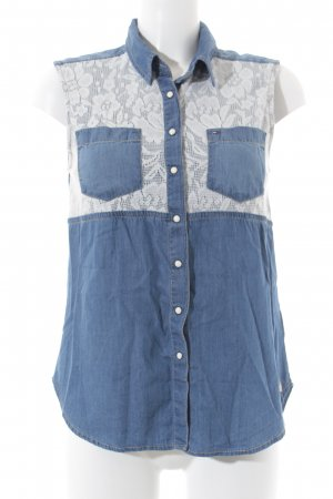 Hilfiger Denim ärmellose Bluse weiß-blau Casual-Look