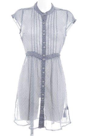 Hilfiger Denim Blusenkleid weiß-dunkelblau Allover-Druck Romantik-Look