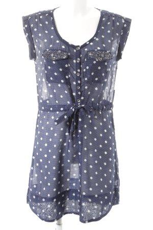 Hilfiger Denim Blusenkleid weiß-dunkelblau Punktemuster Casual-Look