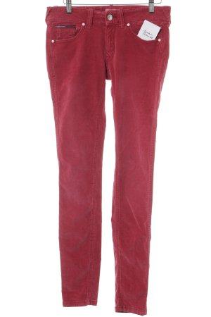 Hilfiger Denim Pantalone di velluto a coste rosso stile casual