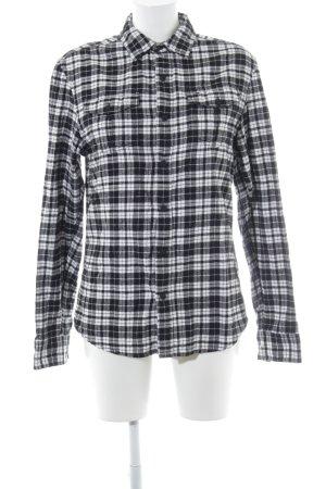 Hilfiger Denim Flanellhemd schwarz-weiß Karomuster Casual-Look