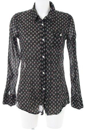 Hilfiger Denim Hemd-Bluse schwarz-rot Allover-Druck Casual-Look
