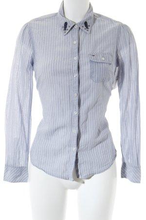 Hilfiger Denim Hemd-Bluse weiß-blassblau Streifenmuster Casual-Look