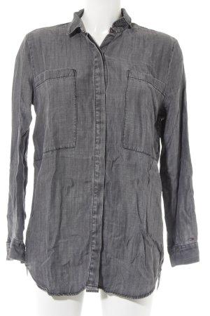 Hilfiger Denim Camicia denim grigio-grigio scuro puntinato stile casual