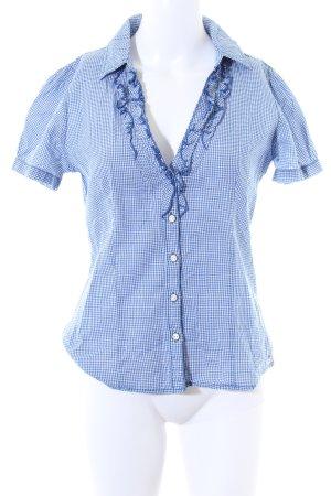 Hilfiger Denim Kurzarm-Bluse blau-weiß Karomuster Casual-Look