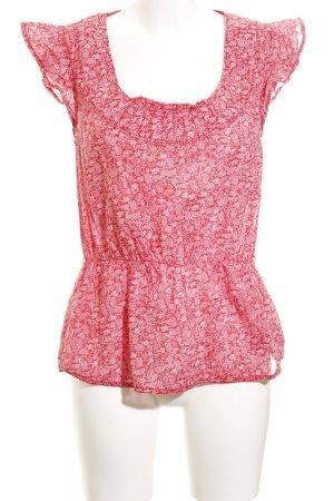 Hilfiger Denim Kurzarm-Bluse ziegelrot-wollweiß florales Muster schlichter Stil