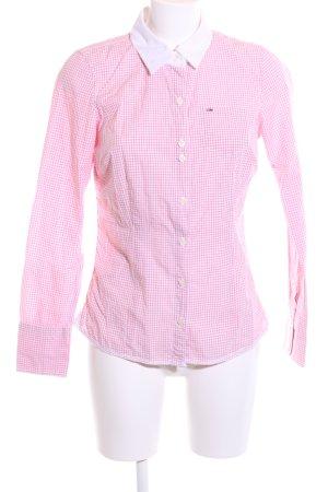 Hilfiger Denim Langarm-Bluse pink-weiß Karomuster Casual-Look
