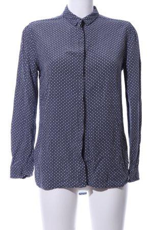 Hilfiger Denim Langarm-Bluse blau-weiß Allover-Druck Business-Look