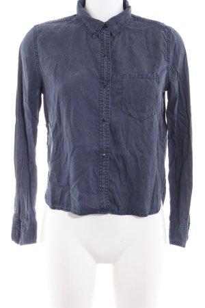 Hilfiger Denim Langarm-Bluse dunkelblau-weiß Boyfriend-Look