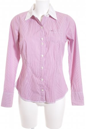 Hilfiger Denim Langarm-Bluse lila-weiß Streifenmuster Casual-Look