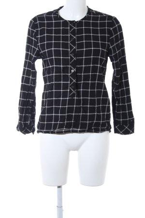 Hilfiger Denim Langarm-Bluse schwarz-wollweiß Karomuster schlichter Stil