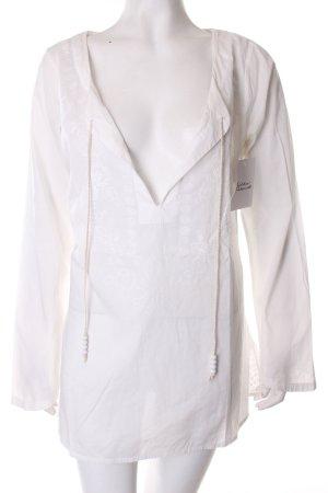 Hilfiger Denim Langarm-Bluse weiß florales Muster Boho-Look