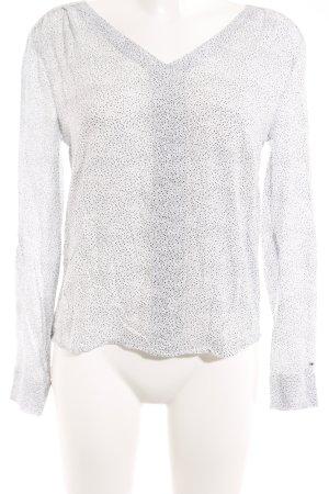 Hilfiger Denim Langarm-Bluse weiß-graublau Punktemuster Casual-Look