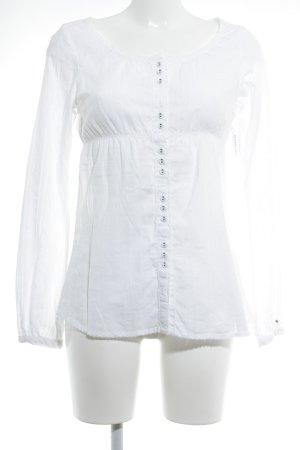 Hilfiger Denim Langarm-Bluse weiß Romantik-Look
