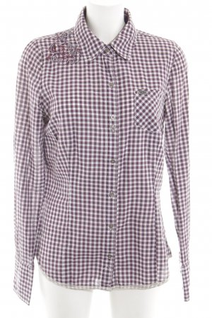 Hilfiger Denim Camisa de manga larga lila-blanco estampado a cuadros look casual