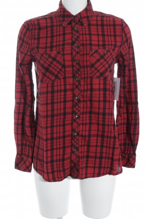 Hilfiger Denim Langarmhemd rot-schwarz Karomuster klassischer Stil