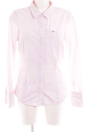 Hilfiger Denim Langarmhemd weiß-hellrosa Streifenmuster Business-Look