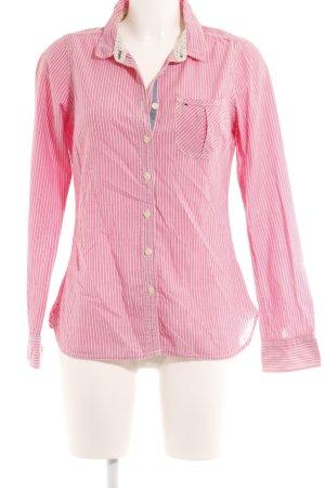 Hilfiger Denim Langarmhemd weiß-rosa Streifenmuster Casual-Look