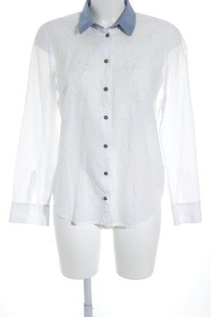 Hilfiger Denim Langarmhemd weiß-stahlblau Sternenmuster Street-Fashion-Look