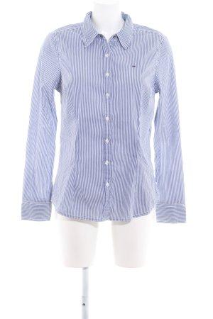 Hilfiger Denim Chemise à manches longues blanc-bleu acier motif rayé