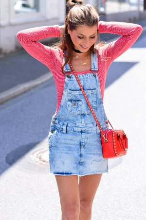 Hilfiger Denim Pinafore Overall Skirt azure-white jeans look