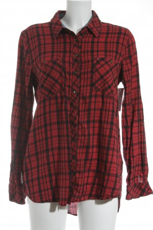 Hilfiger Denim Long Blouse red-black check pattern athletic style