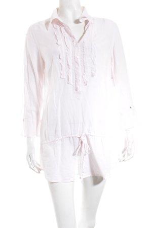 Hilfiger Denim Long-Bluse weiß-hellrosa Streifenmuster Casual-Look