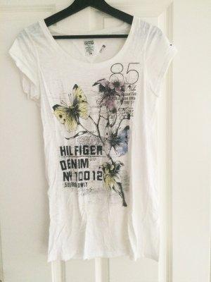 Hilfiger Denim, Longshirt, Shirt, T - Shirt, 36, weiß, Butterfly