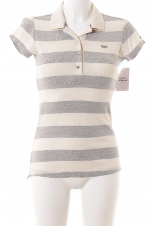 Hilfiger Denim Polo-Shirt grau-creme Streifenmuster Casual-Look
