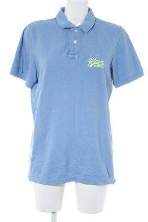 Hilfiger Denim Polo-Shirt neongelb-himmelblau Webmuster Casual-Look