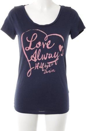Hilfiger Denim Print-Shirt dunkelblau-rosa Schriftzug gedruckt Casual-Look