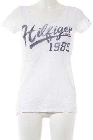 Hilfiger Denim Print-Shirt weiß-graublau platzierter Druck Casual-Look