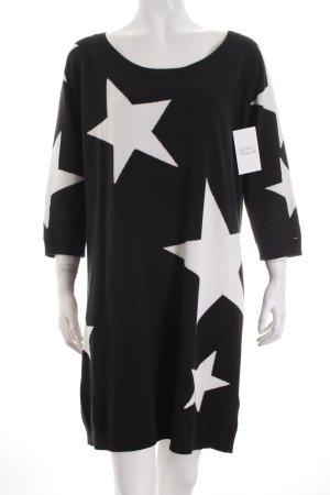 Hilfiger Denim Pulloverkleid schwarz-weiß Sternenmuster Casual-Look