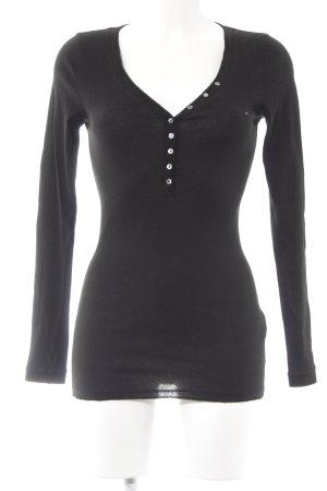 Hilfiger Denim Geribd shirt zwart casual uitstraling