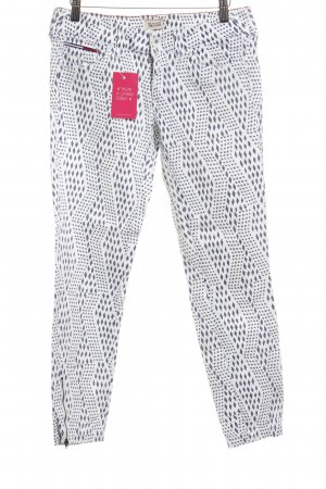 Hilfiger Denim Drainpipe Trousers natural white-steel blue abstract pattern