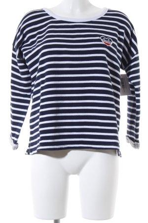 Hilfiger Denim Rundhalspullover dunkelblau-weiß Streifenmuster Marine-Look