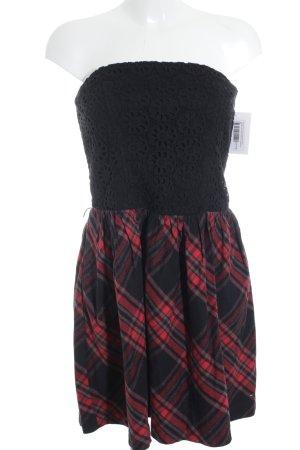 Hilfiger Denim Robe épaules nues noir-rouge motif à carreaux style extravagant