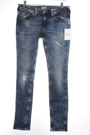 Hilfiger Denim Skinny Jeans dunkelblau-blau Batikmuster Street-Fashion-Look