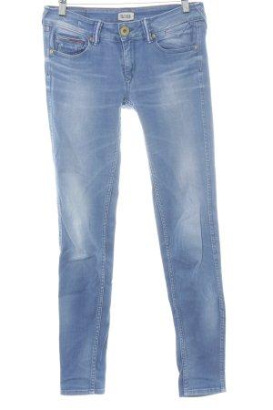 Hilfiger Denim Skinny Jeans wollweiß-himmelblau Logo-Applikation aus Leder