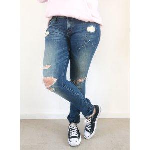 Hilfiger Denim slim fit Jeans 28/32 blau destroyed Look Sprenkeln Farbspritzer Hose Skinny Strech