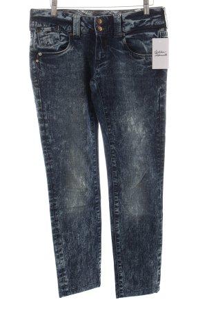 Hilfiger Denim Slim Jeans dunkelblau Batikmuster Bleached-Optik