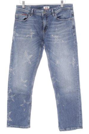 Hilfiger Denim Straight-Leg Jeans stahlblau-weiß Sternenmuster Casual-Look