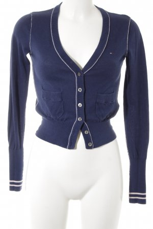 Hilfiger Denim Strick Cardigan dunkelblau Casual-Look