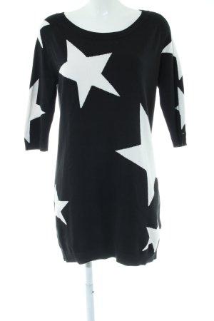 Hilfiger Denim Strickkleid schwarz-wollweiß abstraktes Muster Casual-Look
