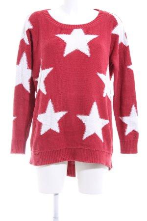 Hilfiger Denim Strickpullover rot-weiß abstraktes Muster Casual-Look